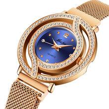 Милые женские часы MISSFOX, розовое золото, магнитный ремешок, стальная сетка, водонепроницаемые, с бриллиантами, Skeleto, синие, повседневные, модн...(China)