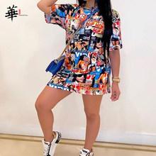 Модное мини-платье-футболка в стиле хип-хоп с граффити, женское летнее уличное платье с коротким рукавом, короткое повседневное сексуальное...(Китай)