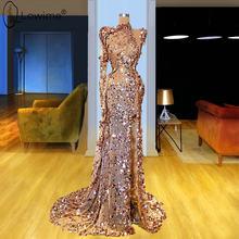 Вечерние платья цвета шампанского с длинным рукавом, расшитые блестками, 2020, сексуальные вечерние платья с высоким разрезом в Дубае, вечерн...(China)