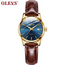 OLEVS Новейшие женские часы водонепроницаемые наручные часы для женщин повседневные женские часы кварцевые кожаный ремешок(China)