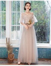 Платье подружки невесты для девочек, длинные элегантные розовые и серые вечерние платья для выпускного вечера 2020(Китай)