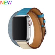 Двойной тур кожаный ремешок для apple watch 5 ремешок 40 мм 44 мм correa iwatch серии 4 3 2 1 42 мм 38 мм ремешок для наручных часов(Китай)