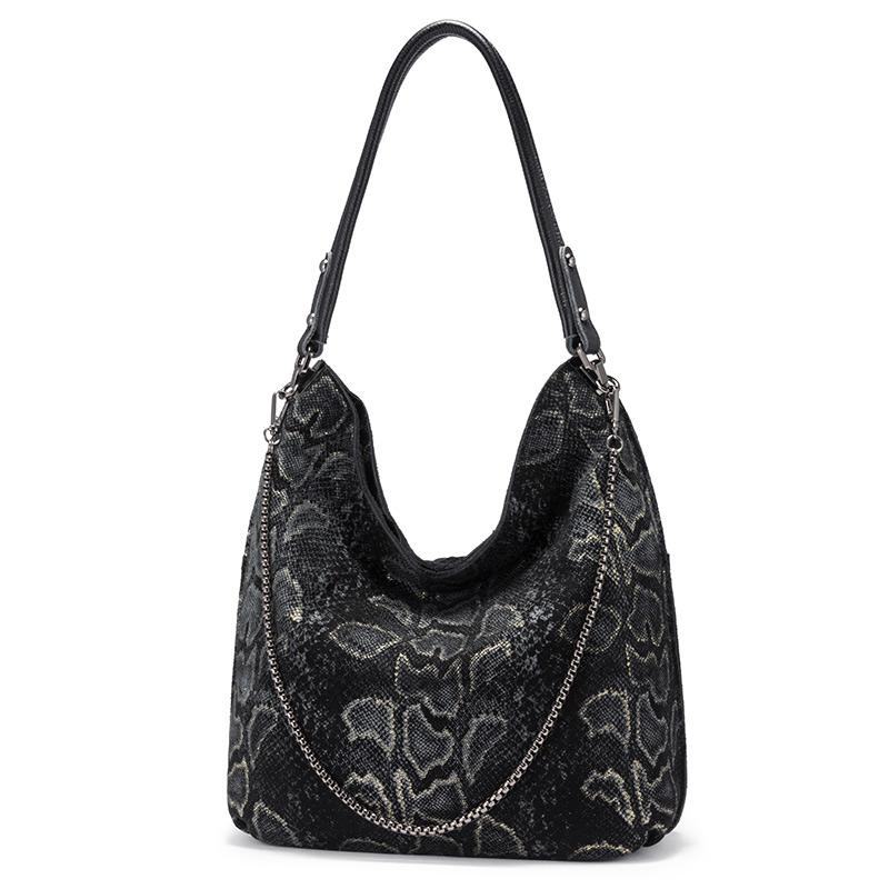 Женская сумка через плечо REALER, Большая вместительная сумка-хобо из натуральной кожи, дизайнерские сумки с серпантином, женские роскошные су...(Китай)