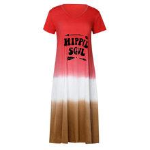 Женское платье-макси с коротким рукавом CHAMSGEND, разноцветное платье в стиле пэчворк, большие размеры, VestidoF26(Китай)