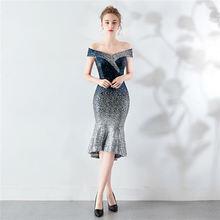 Короткое платье для выпускного вечера с открытыми плечами It's Yiiya DX295, расшитое блестками платье с коротким рукавом, контрастный цвет, платье ...(Китай)