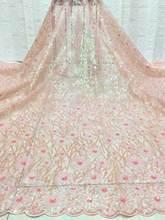 Африканские блёстки кружева ткани 5 ярдов 2020 Розовый французский гипюр кружева ткани для вечерние нигерийские кружева ткани свадебные FD724(Китай)