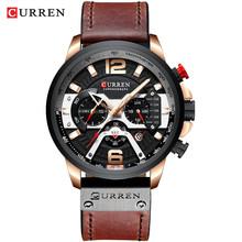 Мужские наручные часы CURREN, модель 2019. Роскошные черные спортивные часы с календарем, на кожаном ремешке(Китай)