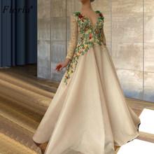 Длинные платья знаменитостей с цветочным рисунком, вечерние платья трапециевидной формы с длинными рукавами, женские вечерние платья для ц...(Китай)