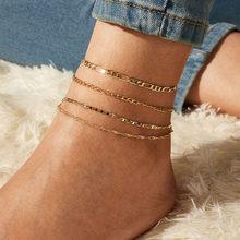 Женский винтажный браслет с бабочками IF YOU, цепочка в стиле бохо, золотые браслеты на щиколотку, 2020, браслет с сердечками для ног, пляжный бра...(Китай)