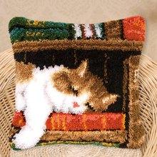 Набор крючков с защелкой, холщовая наволочка с изображением кота, подушка, крючок для вышивания, ковер с крючком, Kussen Kleed La Casa De DIY(Китай)
