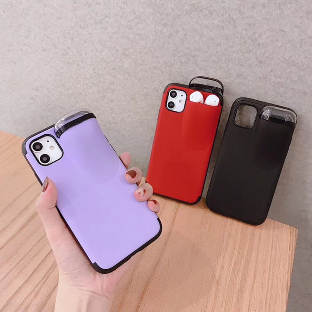Soft Tpu Back Cover With Earphone Storage Case For Iphone 11 Pro