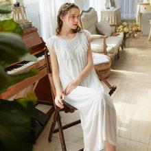 Летняя газовая однотонная женская длинная ночная рубашка с коротким рукавом, Модальная одежда для сна, винтажное Королевское Платье принце...(Китай)