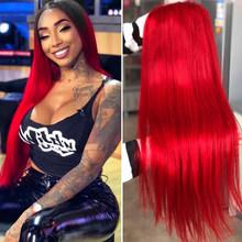 SEXAY Ombre 13x4 парик шнурка человеческих волос парики для черных женщин 99J бордовый красный цвет кружева передние человеческие волосы парики Remy ...(Китай)