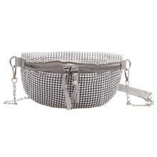 Женская поясная нагрудная сумка, Классическая сумка, креативный тонкий дизайн, ремень на молнии, сумки для кошельков стразы, сумки через пле...(Китай)