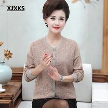 XJXKS плюс размер свитер Осенняя женская зимняя одежда Кардиган вязаный свитер большого размера пальто среднего возраста женский теплый шерс...(Китай)
