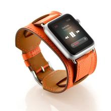 FOHUAS роскошный удлиненный ремешок из натуральной кожи двойной браслет кожаный ремешок для часов для Apple Watch 38 мм 42 мм в наличии(Китай)