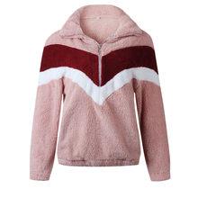 Женская толстовка на молнии, Повседневная теплая толстовка с отложным воротником, черный и розовый цвета, верхняя одежда, осень-зима 2019(Китай)