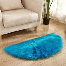 Однотонный Домашний напольный коврик полукруглый, мягкий плюшевый коврик для гостиной, нескользящий кухонный декор, коврики, 15 цветов(Китай)