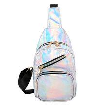 Модная поясная сумка из лазерной кожи для женщин 2020 новая голографическая поясная сумка из искусственной кожи нагрудная сумка через плечо ...(Китай)