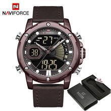 Топ люксовый бренд NAVIFORCE военные мужские часы цифровые кожаные спортивные часы кварцевые мужские водонепроницаемые часы Relogios Masculino 2020(Китай)