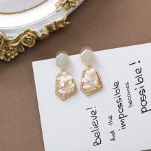 Женские винтажные серьги-капельки MENGJIQIAO, необычные серьги из натурального камня с кристаллами, металлические украшения для девочек(Китай)