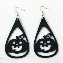 Крутые серьги на Хэллоуин для женщин и девушек, креативные кожаные серьги с тыквой, лидер продаж, вечерние ювелирные изделия, подарочные акс...(Китай)