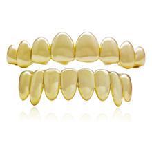 LuReen Новые панк золотые зубы грили для мужчин и женщин 8 зубов сверху снизу вампир Fangs Grillz хип-хоп рэппер ювелирные изделия для тела(Китай)