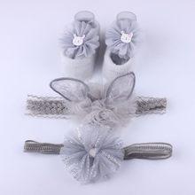3 шт для новорожденных девочек бант на голову цветочная ткань волосы резинки аксессуары носки подарочные коробки костюм из трех предметов р...(China)
