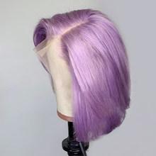 Фиолетовый цвет Омбре 13*4 кружевные передние человеческие волосы парики 150% короткий Боб 13*6 бразильский Реми для черных женщин выщипанная от...(Китай)