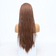 RONGDUOYI длинные Жаростойкие накладные волосы с эффектом деграде (переход от коричневый Плетеный 13x3 парик шнурка Two Tone пепельного цвета блонд с...(Китай)
