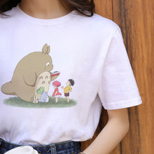 Женская футболка с рисунком Тоторо, Винтажная футболка в стиле Харадзюку, большие размеры, забавная уличная одежда Ullzang, изящная одежда в ст...(Китай)
