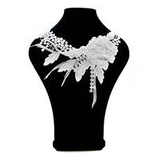 1 шт., Высококачественная Белая Кружевная тканевая брошь, вышитый воротник, цветочный Ажурный воротник, аппликация «сделай сам» для швейных ...(Китай)
