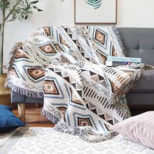 [MUZE-U] двустороннее геометрическое одеяло для дивана, Европейское покрывало для дивана с кисточками, покрывало для кровати, переносное одеял...(Китай)