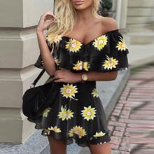 Женское летнее платье трапециевидной формы с цветочным принтом и бабочками, элегантное мини-платье с открытыми плечами и рюшами, винтажные ...(Китай)
