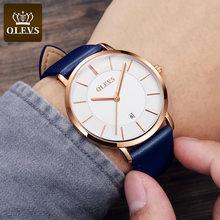 OLEVS ультра тонкие мужские часы Топ бренд класса люкс Натуральная кожа повседневные Кварцевые водонепроницаемые наручные часы Мужские часы(Китай)