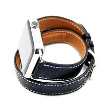 Кожаный ремешок для часов Apple Watch Series 4 3 21 ремешок 42 мм 38 мм 44 мм 40 мм петля браслет двойной ремешок для Iwatch 4 3 2(Китай)