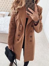 Зимние пальто и куртки женское двубортное длинное пальто корейское элегантное винтажное пальто женское теплое Черное пальто размера плюс(Китай)