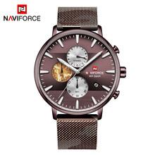 Мужские спортивные часы Naviforce, роскошные Брендовые Часы из нержавеющей стали с сетчатым ремешком, кварцевые часы с хронографом, наручные ча...(Китай)