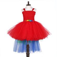 Красное рождественское платье для девочек с изображением попугая, Единорога; Одежда для девочек; многослойное платье-пачка; Детский карнав...(Китай)