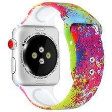 Силиконовый ремешок для Apple Watch band 44 мм 40 мм 42 мм 38 мм с принтом, Женский iwatch браслет, apple Watch series 5 4 3 2 1 band 44 мм(China)