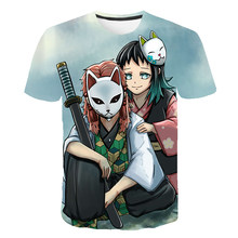 Крутая забавная футболка с демоном, Мужская футболка Kimetsu No Yaiba с японским аниме, графическая летняя футболка, уличная футболка, Мужская/женс...(China)