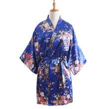 2019 новогодние японские платья кимоно для женщин Цветочный купальный халат пикантная Пижама короткое шелковое кимоно-юката ночные халаты(Китай)