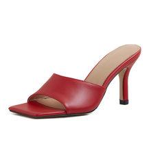 Meotina/Женская обувь из натуральной кожи; Шлепанцы на высоком каблуке с квадратным носком; Женские босоножки на тонком каблуке; Цвет белый, кра...(Китай)