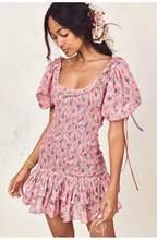 Женское платье-мини Boho loveshackfancy, бежевое приталенное праздничное платье с коротким рукавом и оборками(Китай)