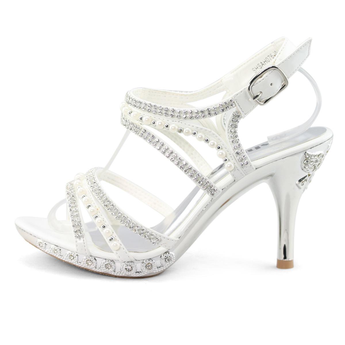 858197234d8 Wholesale SHOEZY Unique Womens Silver White Satin Pearl Rhinestone ...