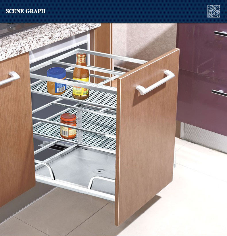 Kitchen Cabinet Baskets: Modern Stainless Steel Kitchen Drawer Basket 201