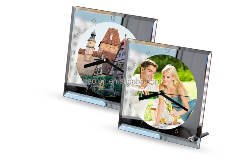 Blank Square Mirror Edge Sublimation Glass Clock Buy Blank Mirror Edge Sublimation