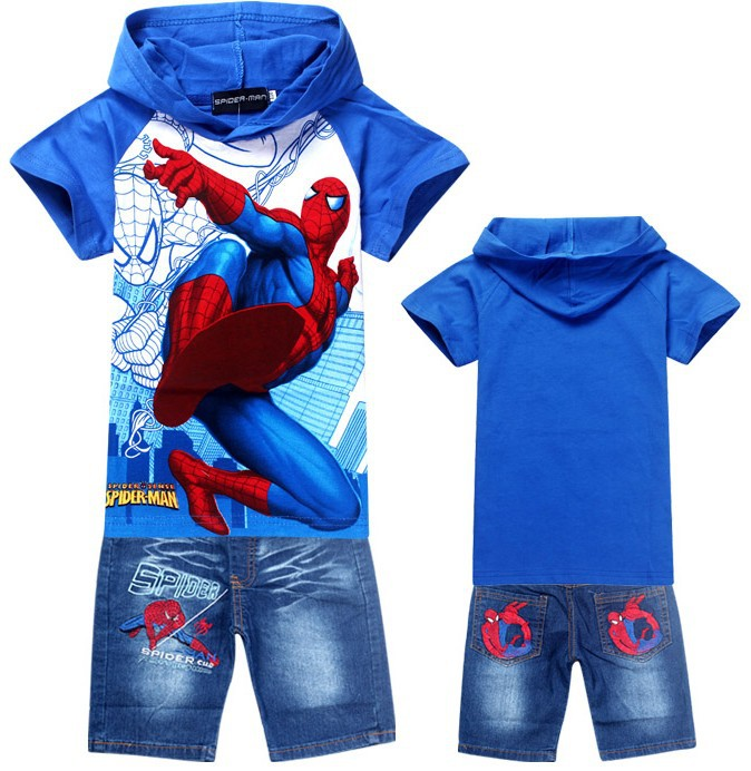 08e8f92eca0 2019 Wholesale Retail Hoodies Spiderman Children S Sports Suit Summer Kids  Baby Cartoon Clothing Sets Short Sleeve T Shirt+Jeans Summer From  Pulchritude