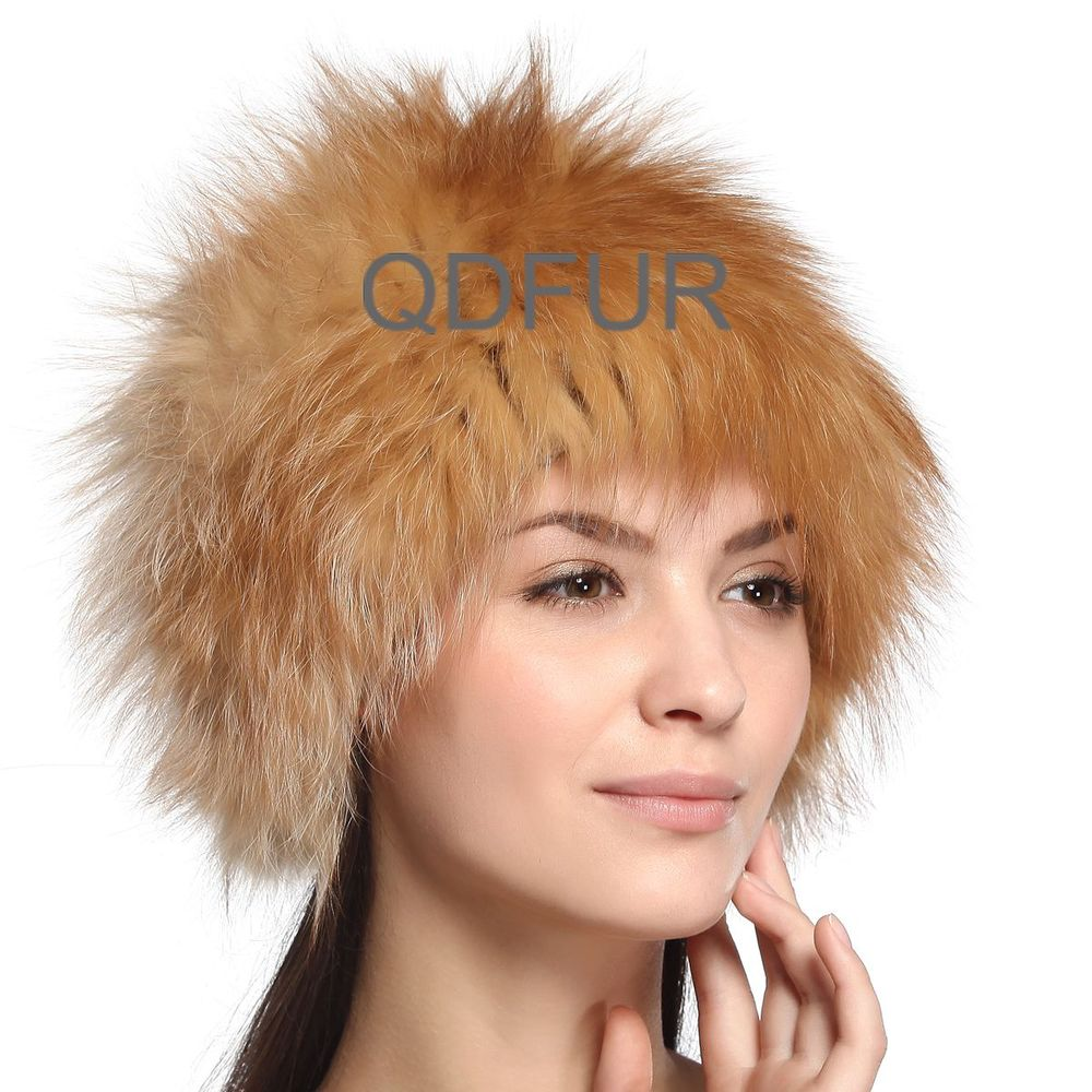 36aed94cfcc Handmade Autumn Winter Ladies  Genuine Real Knitted Fox Fur Hats ...
