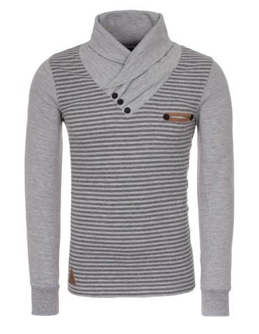 Mens 100 Cotton Strip Chimney Collar Turtleneck